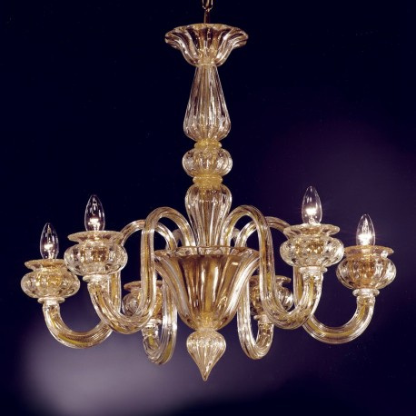 """Giudecca"" 6 lights 24K gold Murano glass chandelier"