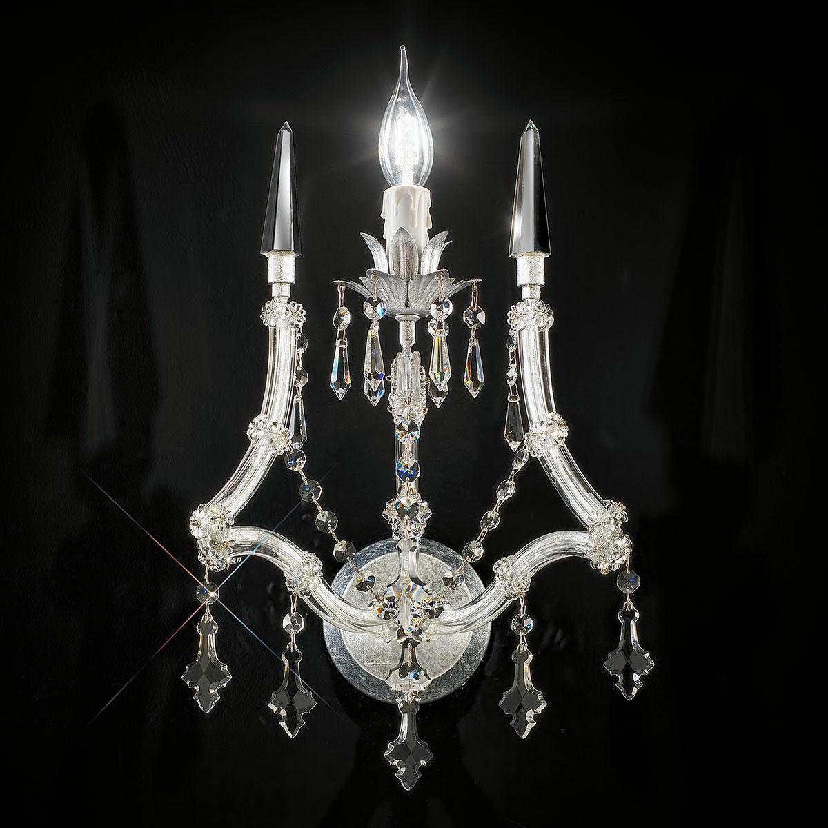 """""""Cattaneo"""" aplique veneciano de pared en cristal - 1 luce - transparente con cristal Asfour"""