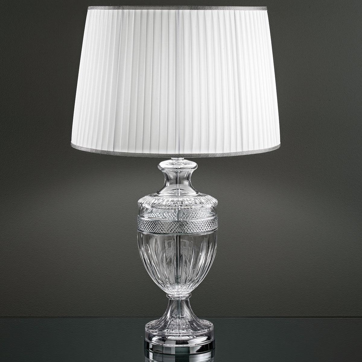 """""""Giotto"""" lampe de table vénitienne en cristal - 1 lumière - transparent avec chrome matériel"""