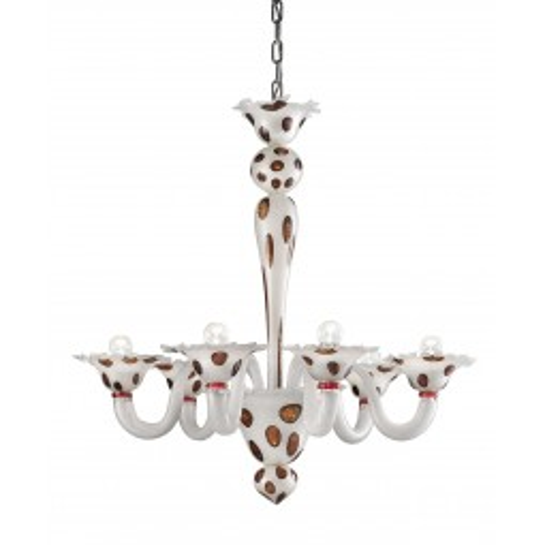 """Dalmata"" 6 lights Murano glass chandelier"