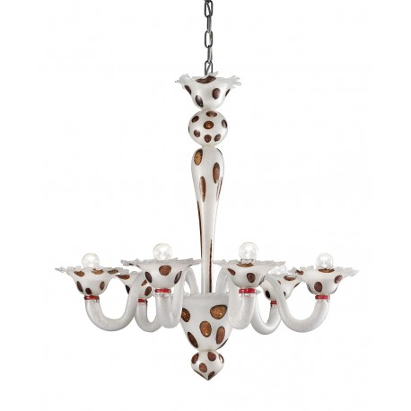 """Dalmata"" 6 lights Murano glass chandelier"