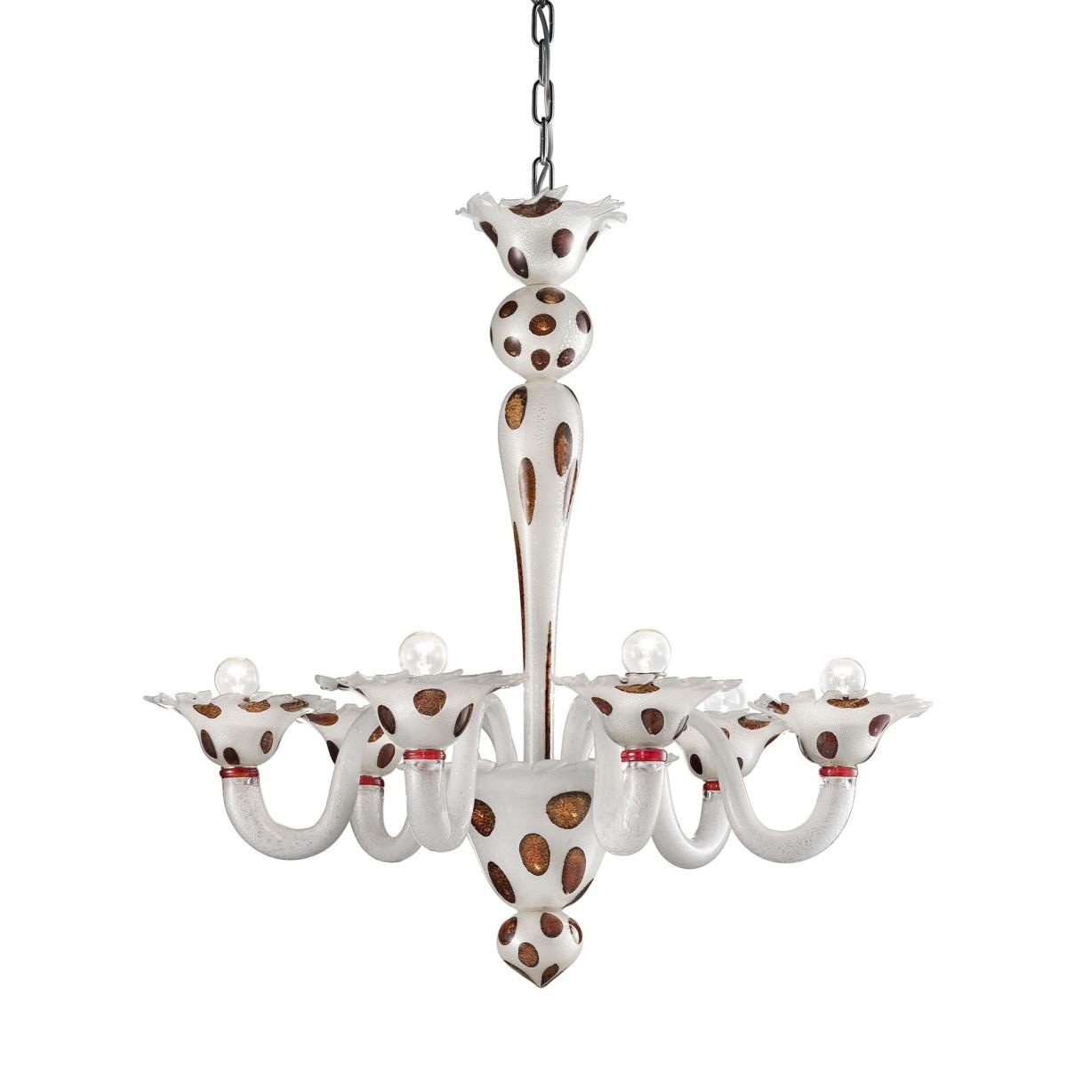 """Dalmata"" lustre en verre de Murano 6 lumières"