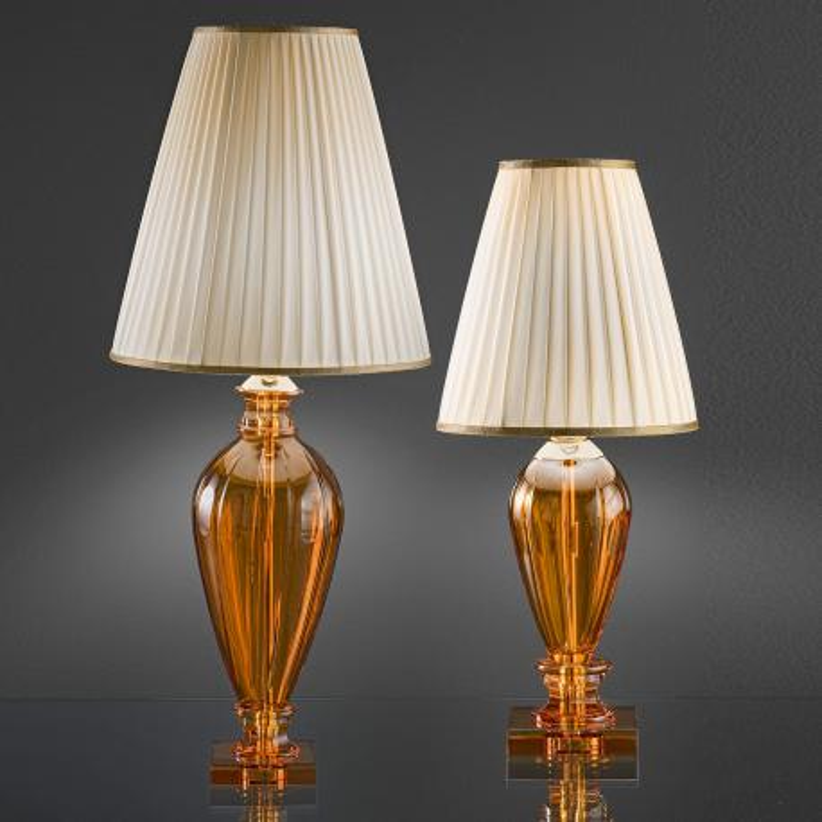 """""""Fattori"""" lampe de table vénitienne en cristal - 1 lumière - ambre"""