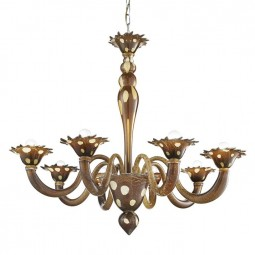"""Dalmata"" 8 lights Murano glass chandelier - brown with white spots"