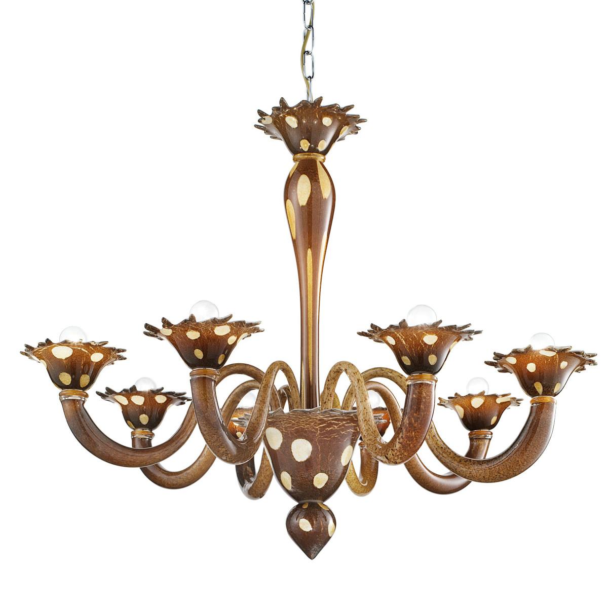 """""""Dalmata"""" lustre en verre de Murano 8 lumières - brun - points blanc"""