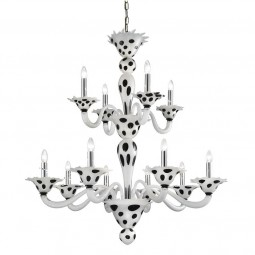 """Dalmata"" 8+4 lights Murano glass chandelier"