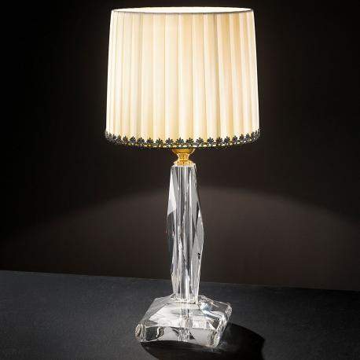 """Mazzolino"" venetian crystal table lamp - 1 light - transparent"
