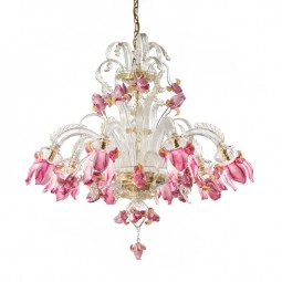 """Delizia"" 8 lights pink flowers Murano glass chandelier"