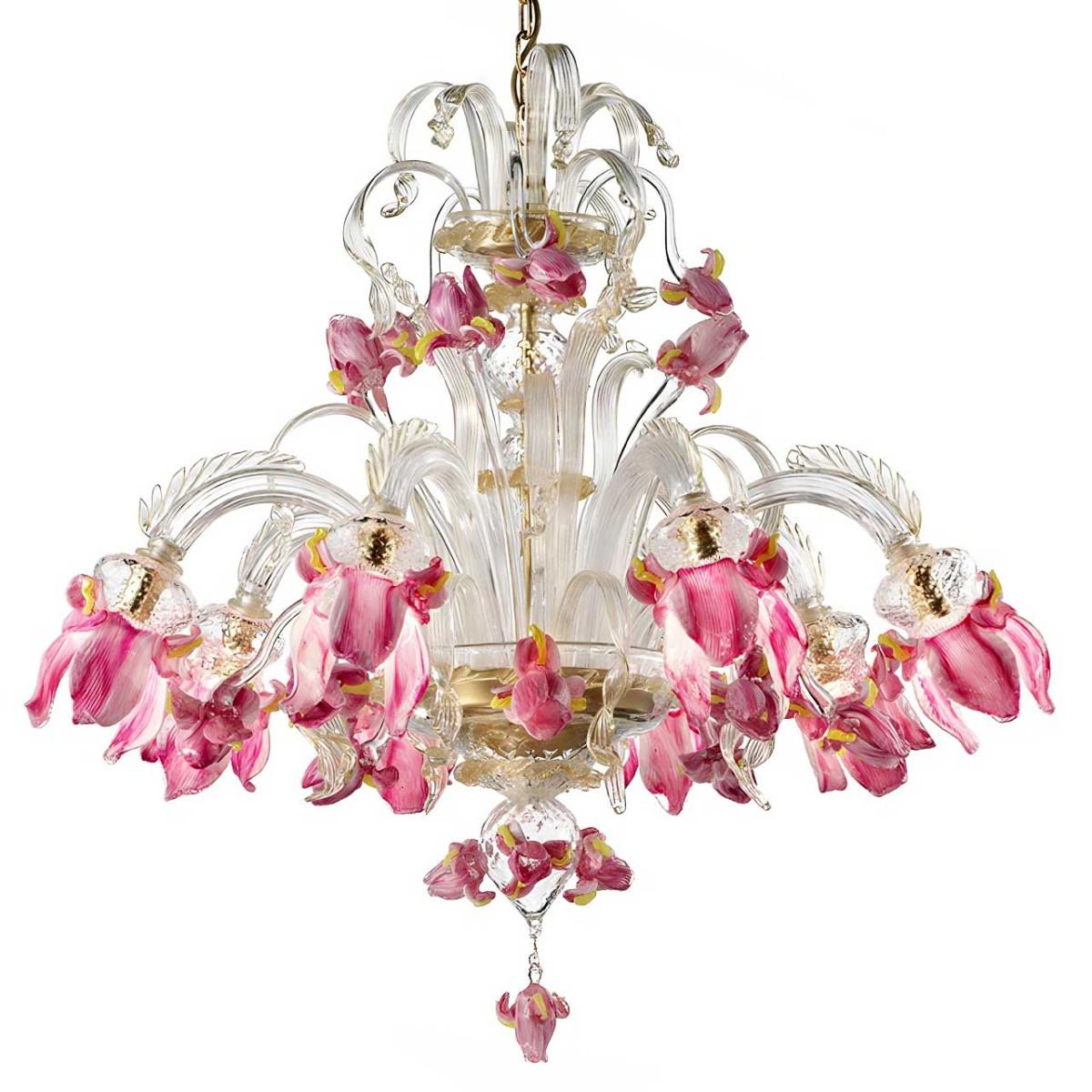 """""""Delizia"""" lustre fleurs roses en verre de Murano 8 lumières"""