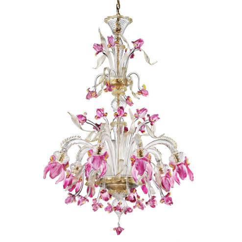 """""""Delizia"""" lustre haut fleurs roses en verre de Murano 8 lumières"""