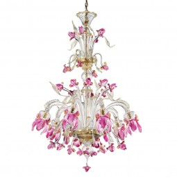 """Delizia"" 8 lights pink flowers tall Murano glass chandelier"