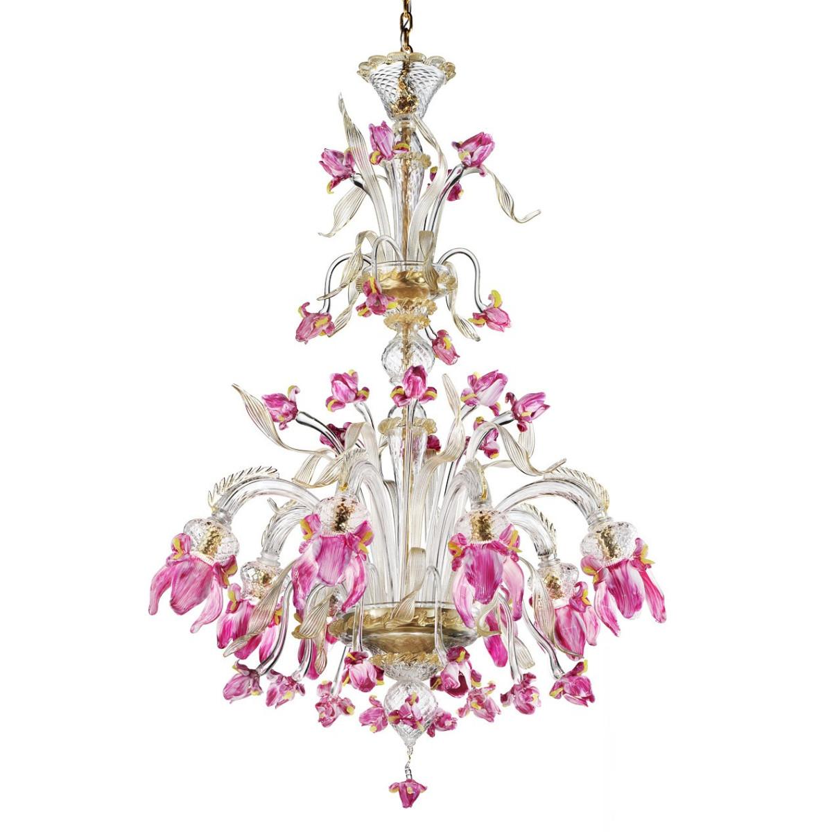 """Delizia"" 8 lights pink flowers tall Murano glass chandelier"