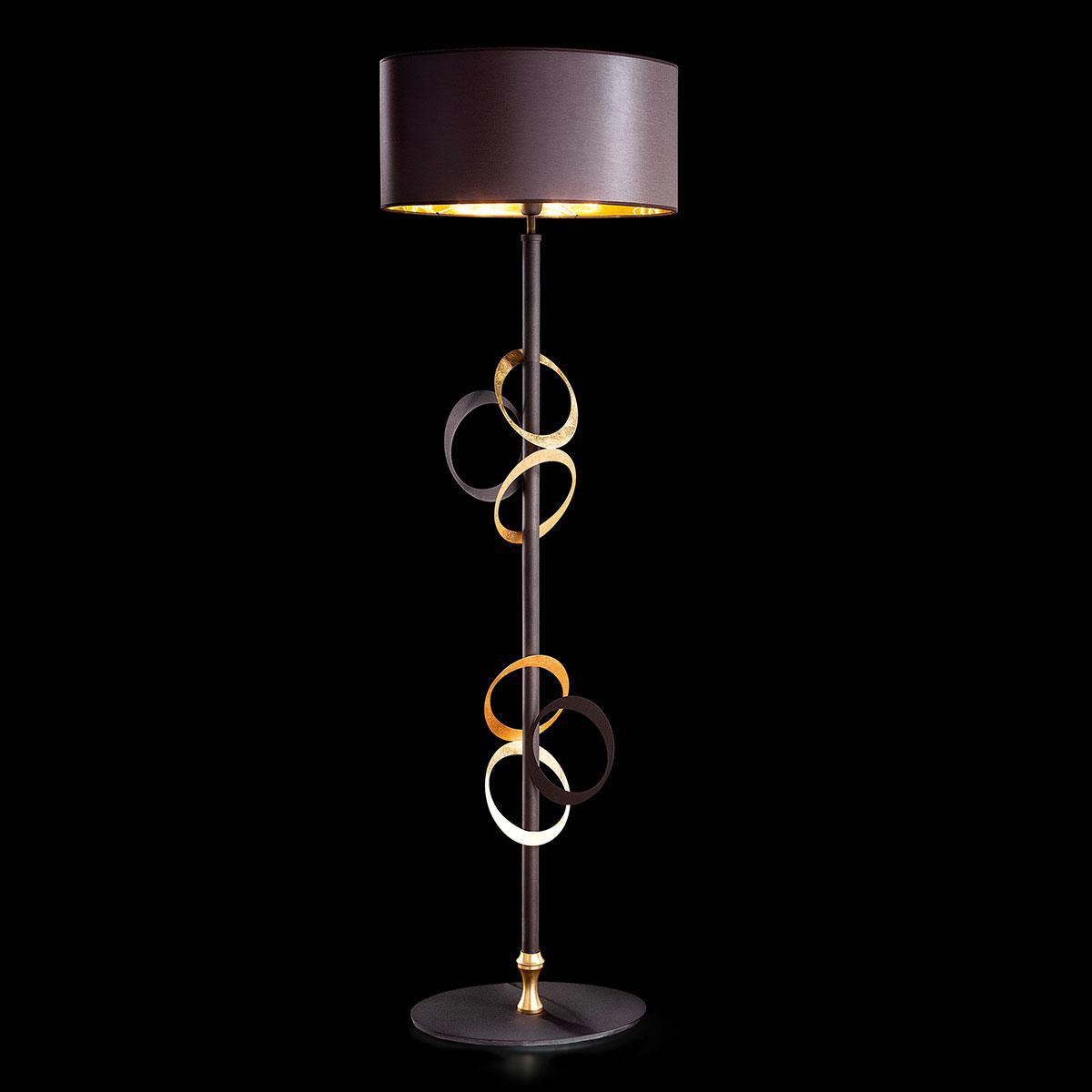 """""""Canuti"""" lampara de pie veneciana en cristal - 1 luce - hoja de oro"""