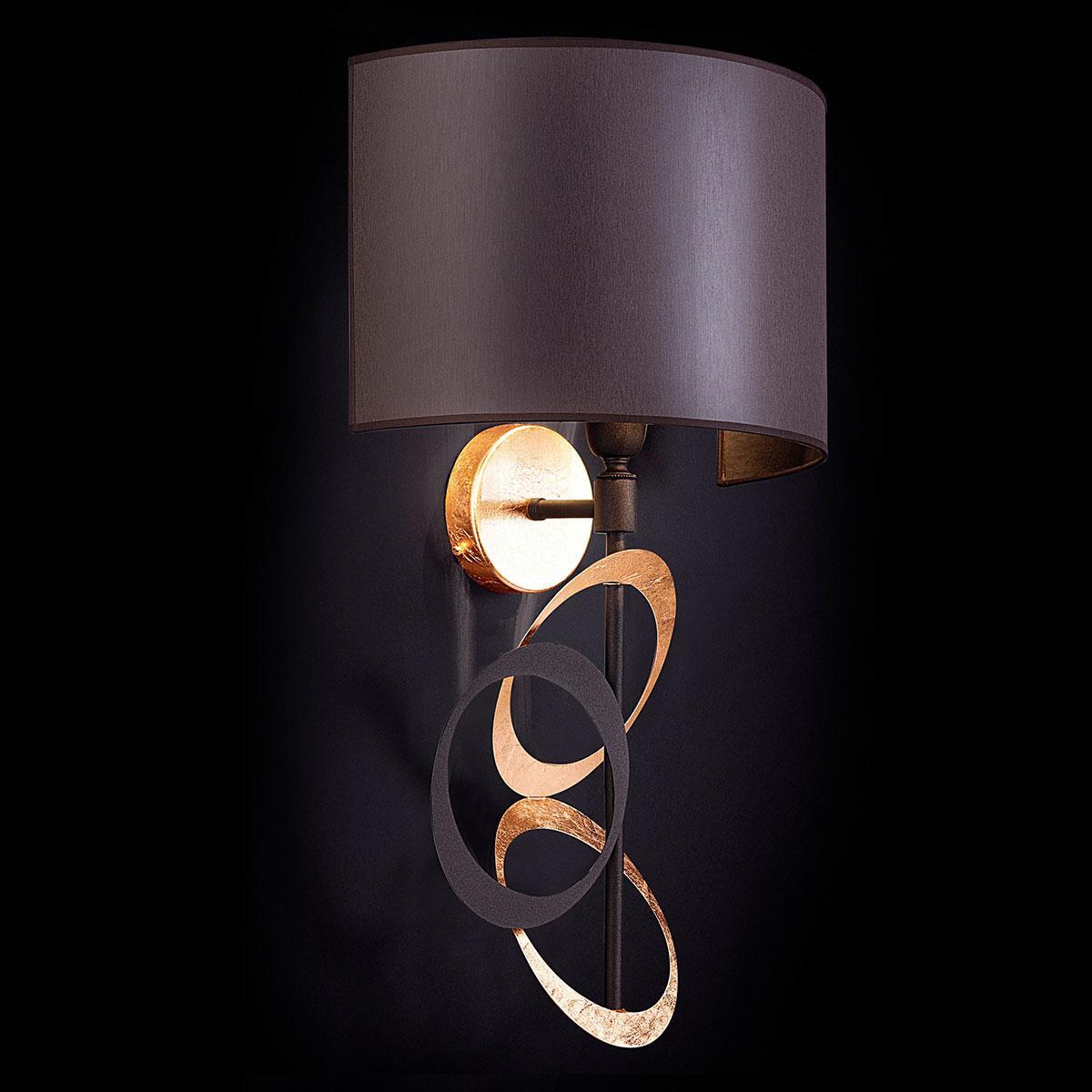 """""""Canuti"""" aplique veneciano de pared en cristal - 1 luce - hoja de oro"""