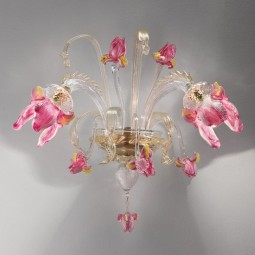 """Delizia"" 2 lights pink flowers Murano glass wall sconce"