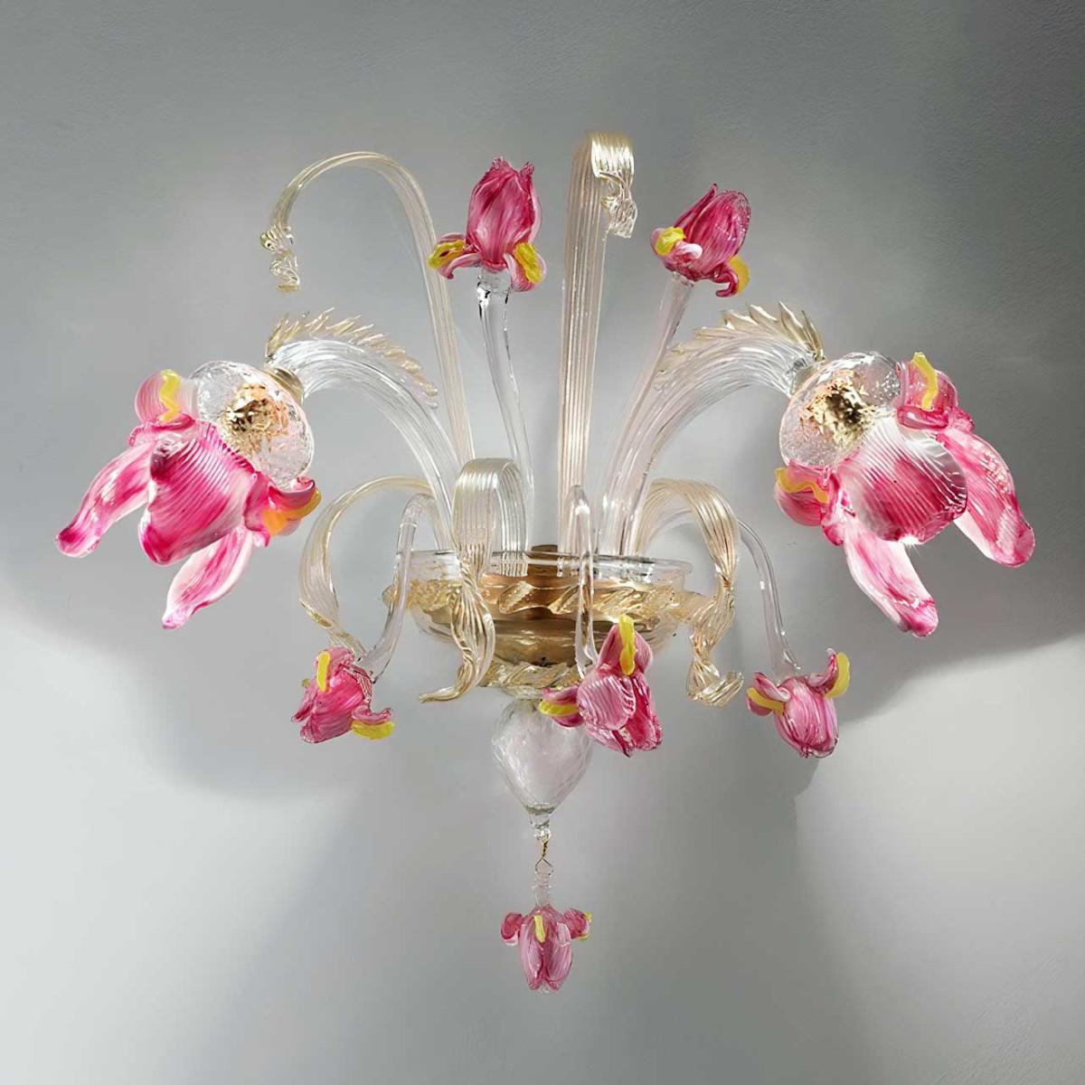 """Delizia"" 2 luces aplique en cristal de Murano flores rosadas"