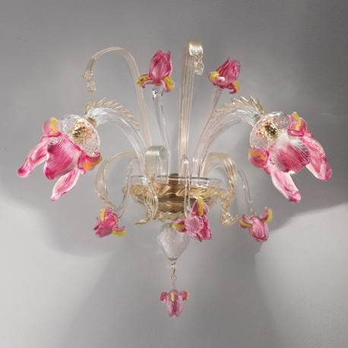 """Delizia"" 2 flammig rosa Blumen Murano-glas wandleuchte"