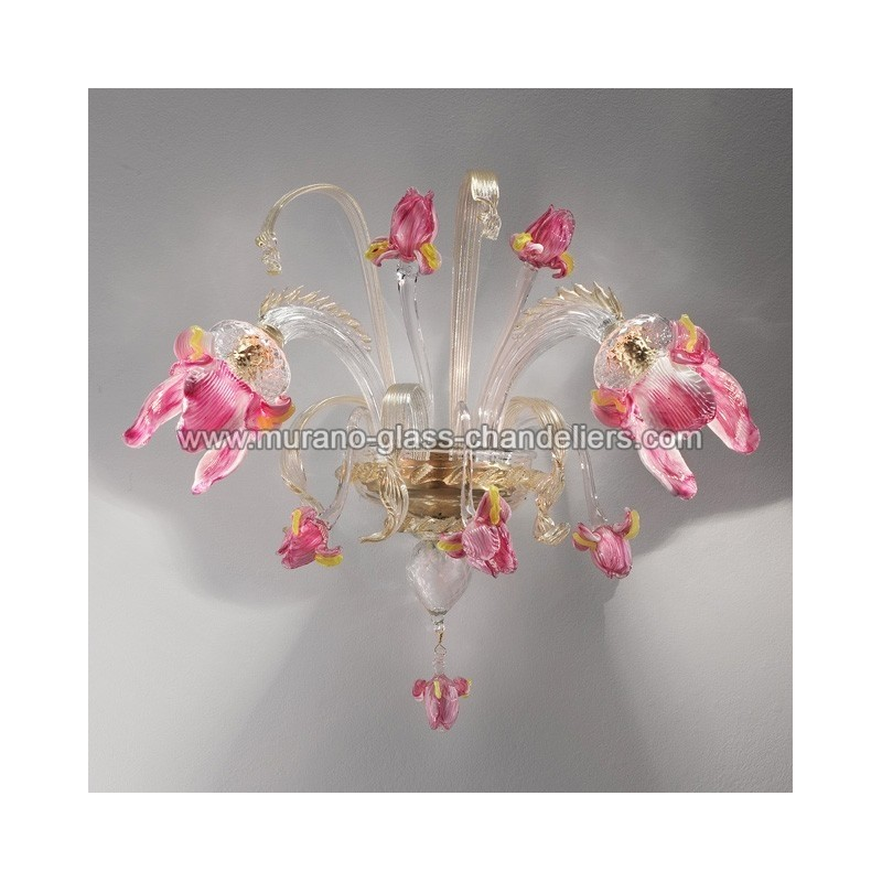 """Wall Sconces With Flowers: """"Delizia"""" Pink Flowers Murano Glass Wall Sconce"""