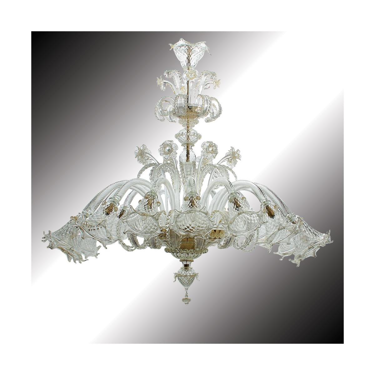 """Mirabile"" lustre forme ovale en verre de Murano 16 lumières"