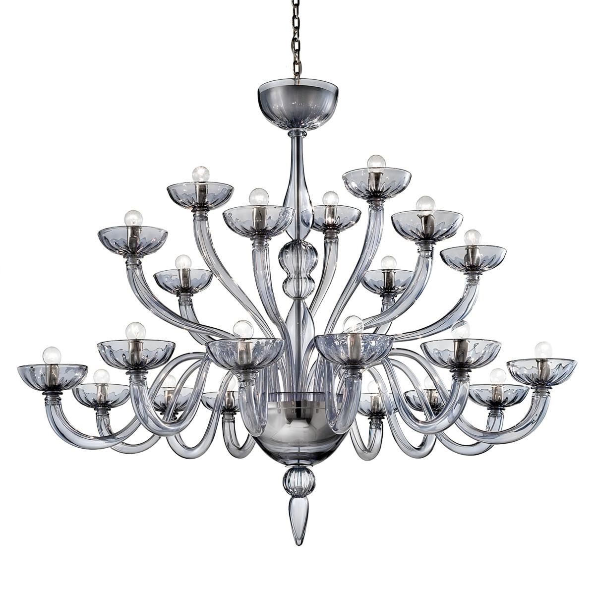 """Nirvana"" 21 lights grey Murano glass chandelier"