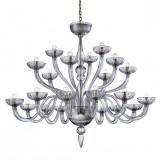 """Nirvana"" 21 lights grey Murano glass chandelier"