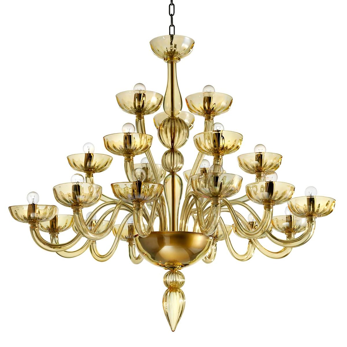 """Karma"" lustre ambre en verre de Murano 21 lumières"