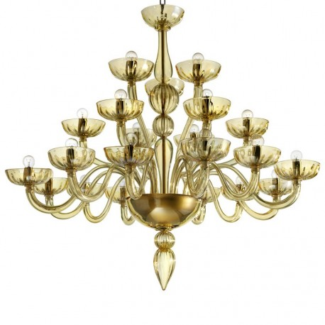 """Karma"" 21 lights amber Murano glass chandelier"