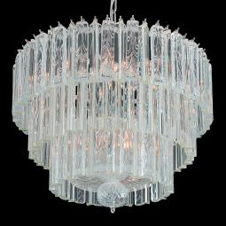 """Archie"" Murano glass chandelier - 9 lights - transparent"