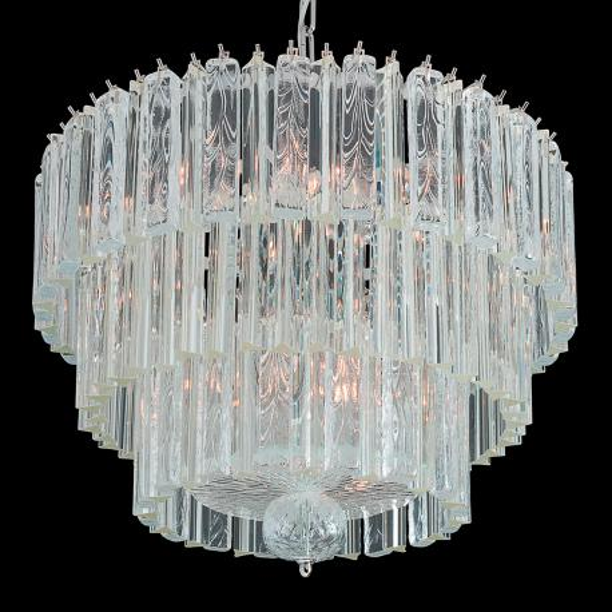 """Archie"" Murano glass chandelier - 9 lights - transparent"