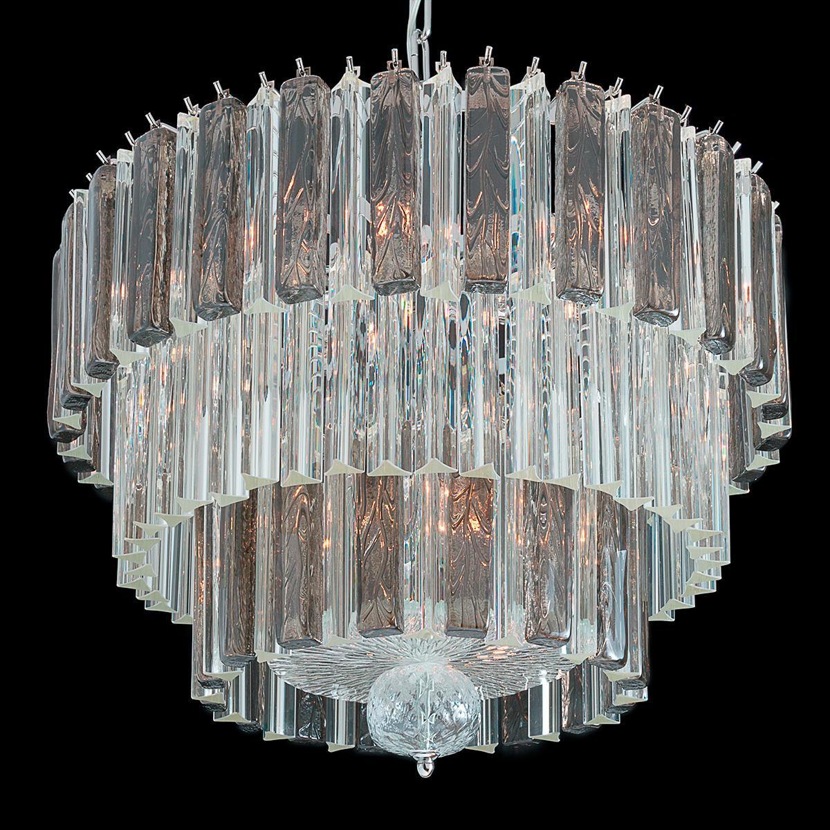 """""""Barry"""" lustre en cristal de Murano - 9 lumières - transparent et gris"""