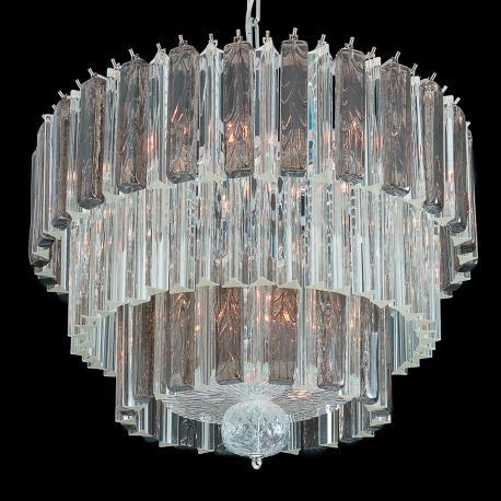 """""""Barry"""" Murano glass chandelier - 9 lights - transparent and grey"""