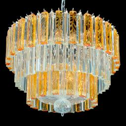 """Bette"" Murano glass chandelier - 9 lights - transparent and amber"