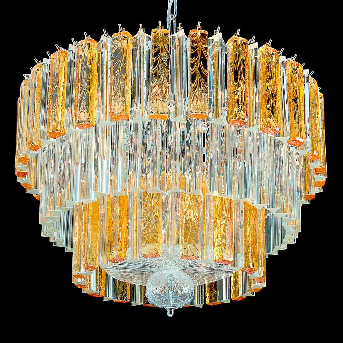 """""""Bette"""" lustre en cristal de Murano - 9 lumières - transparent et ambre"""