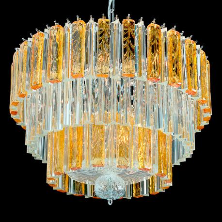 """""""Bette"""" Murano glass chandelier - 9 lights - transparent and amber"""