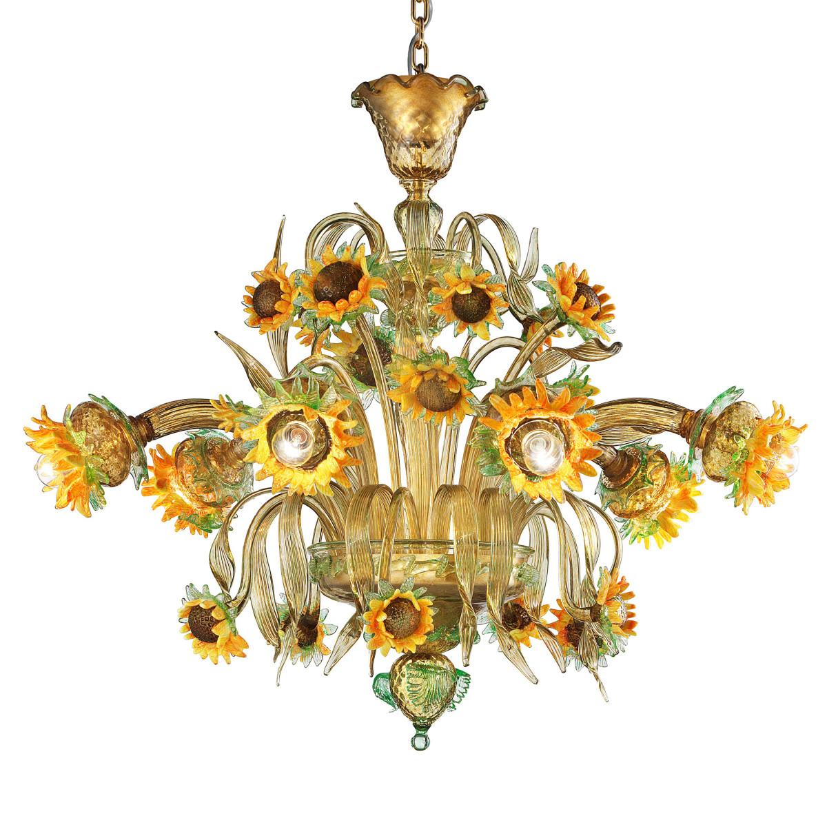 """Girasole"" lustre tournesols en verre de Murano 6 lumières"