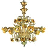 """Girasole"" sunflowers Murano glass chandelier"