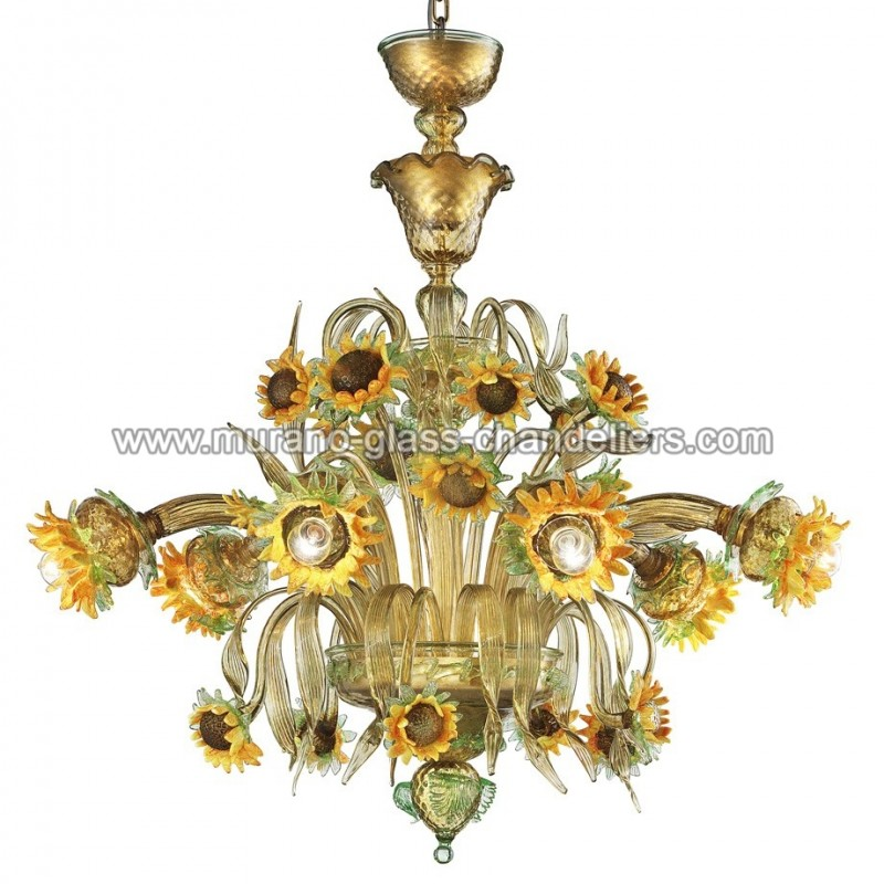 "Small Murano Crystal Chandelier: ""Girasole"" Sunflowers Murano Glass Chandelier"