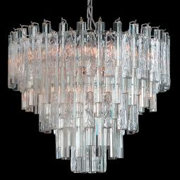 """Candy"" Murano glass chandelier - 9 lights - transparent"