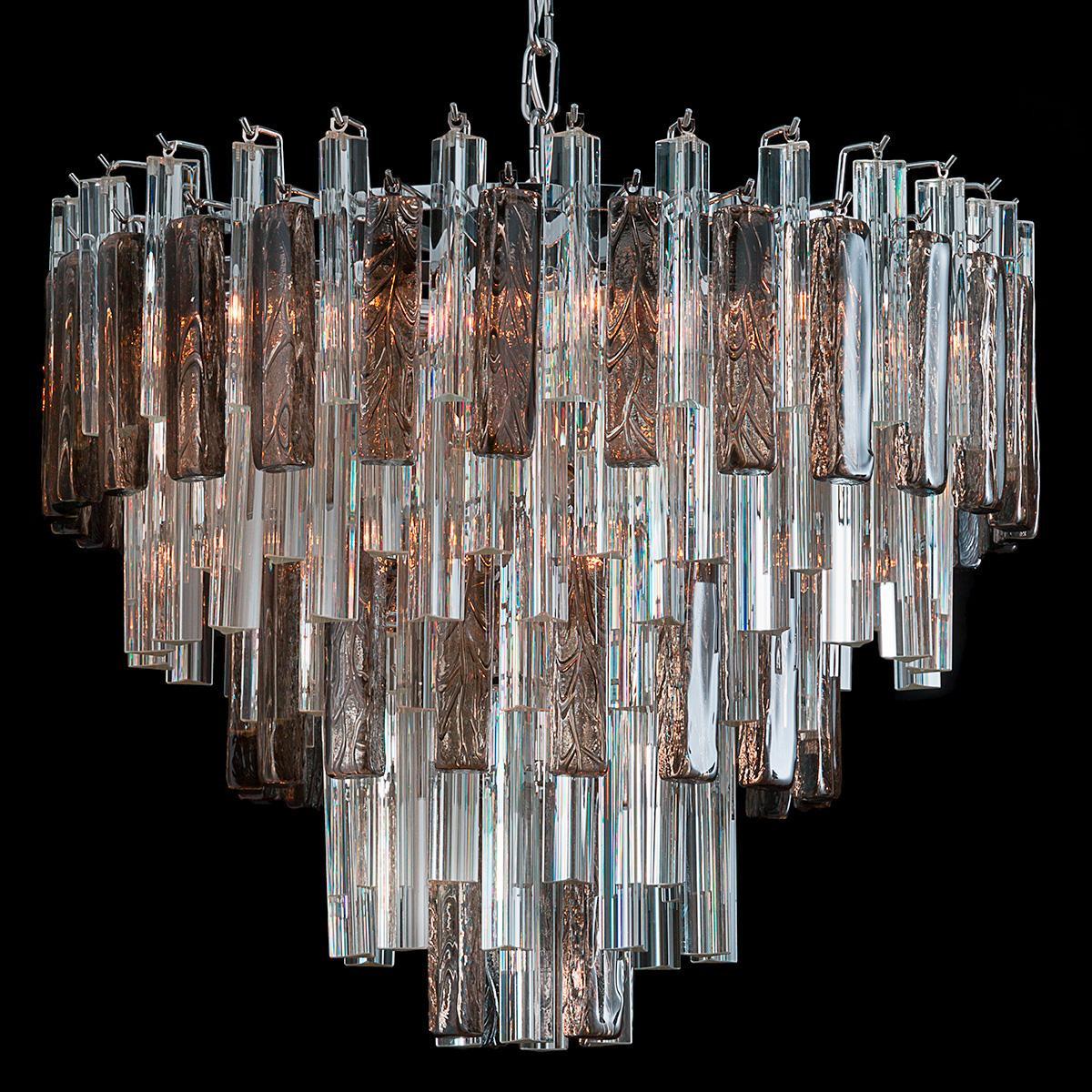 """""""Blondie"""" lustre en cristal de Murano - 9 lumières - transparent et fumée"""