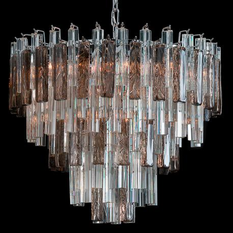 """Blondie"" Murano glass chandelier - 9 lights - transparent and smoke"