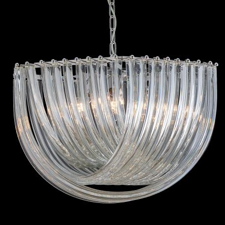"""Carrie"" Murano glass chandelier - 6 lights - transparent"