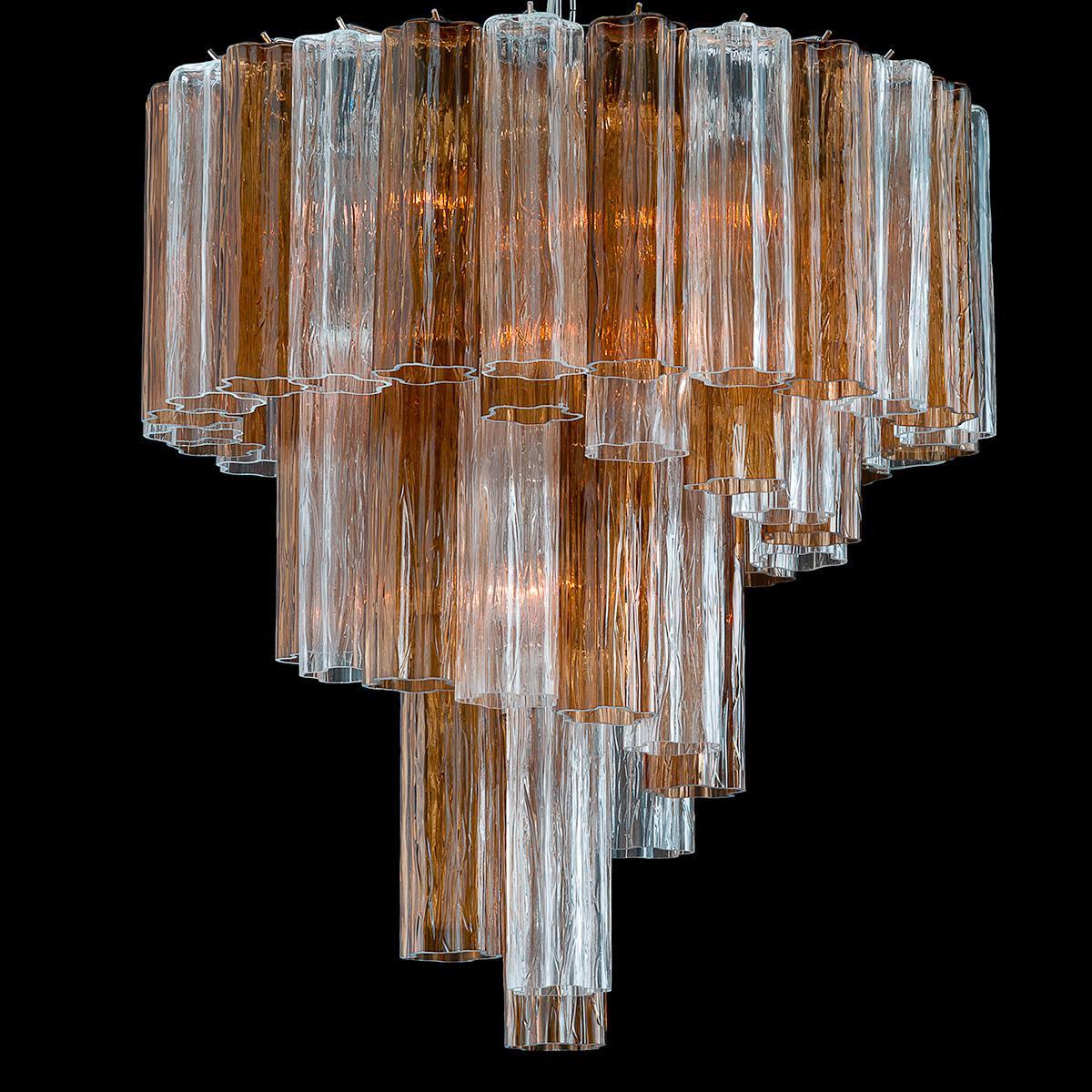 """""""Dana"""" lustre en cristal de Murano - 7 lumières - transparent et fumée"""