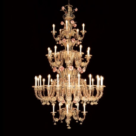 """Bembo"" 40 lights rezzonico Murano glass chandelier"