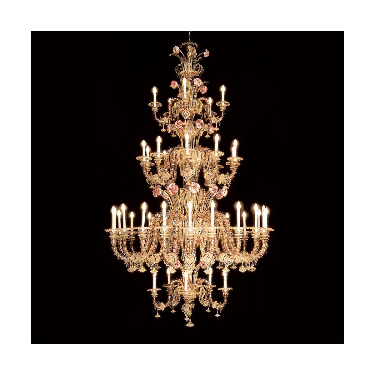 """Bembo"" lustre rezzonico en verre de Murano 40 lumières"
