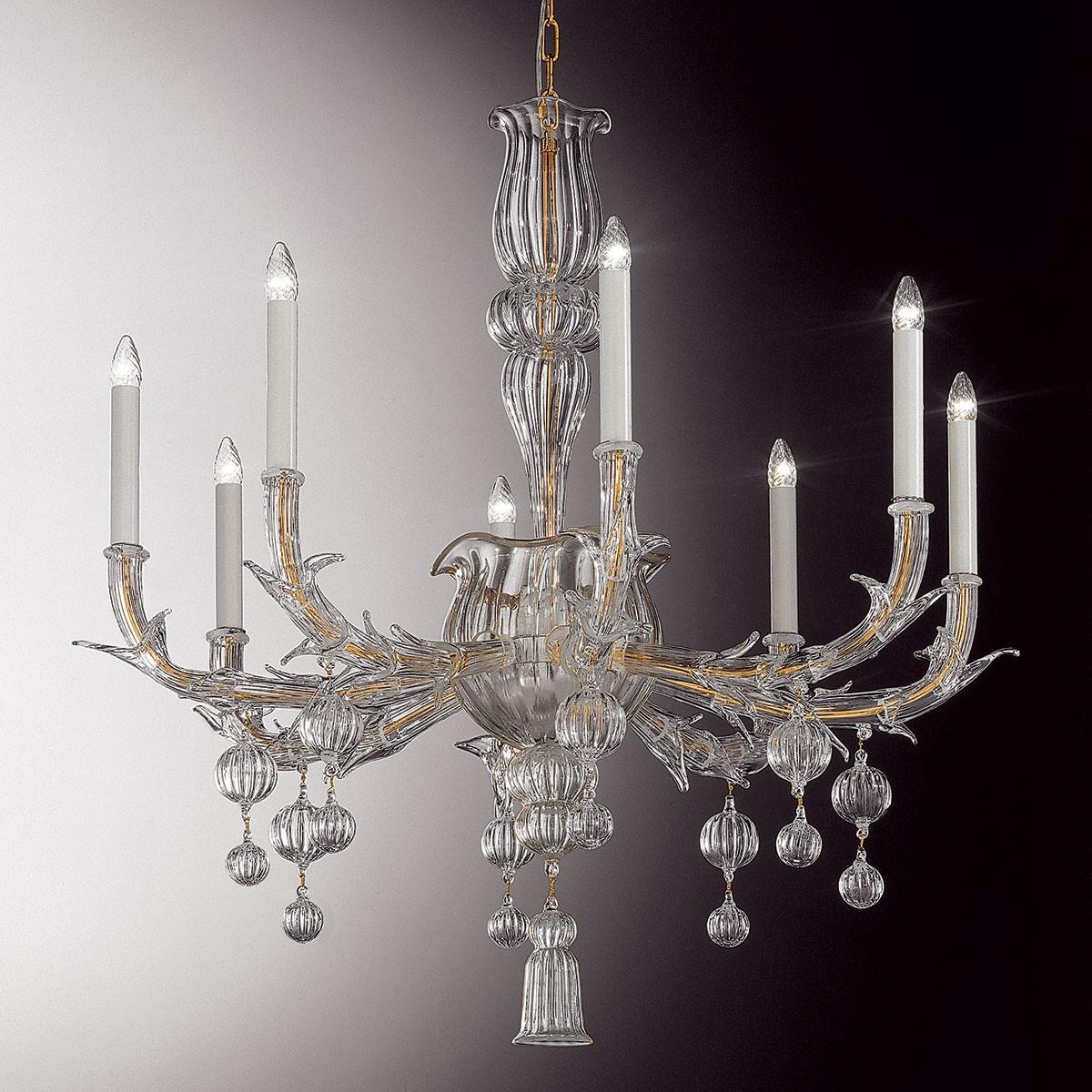 """Ragno"" lustre en verre de Murano - 8 lumieres, transparent"