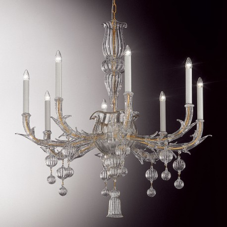 """Ragno"" Murano glass chandelier - 8 lights, transparent"
