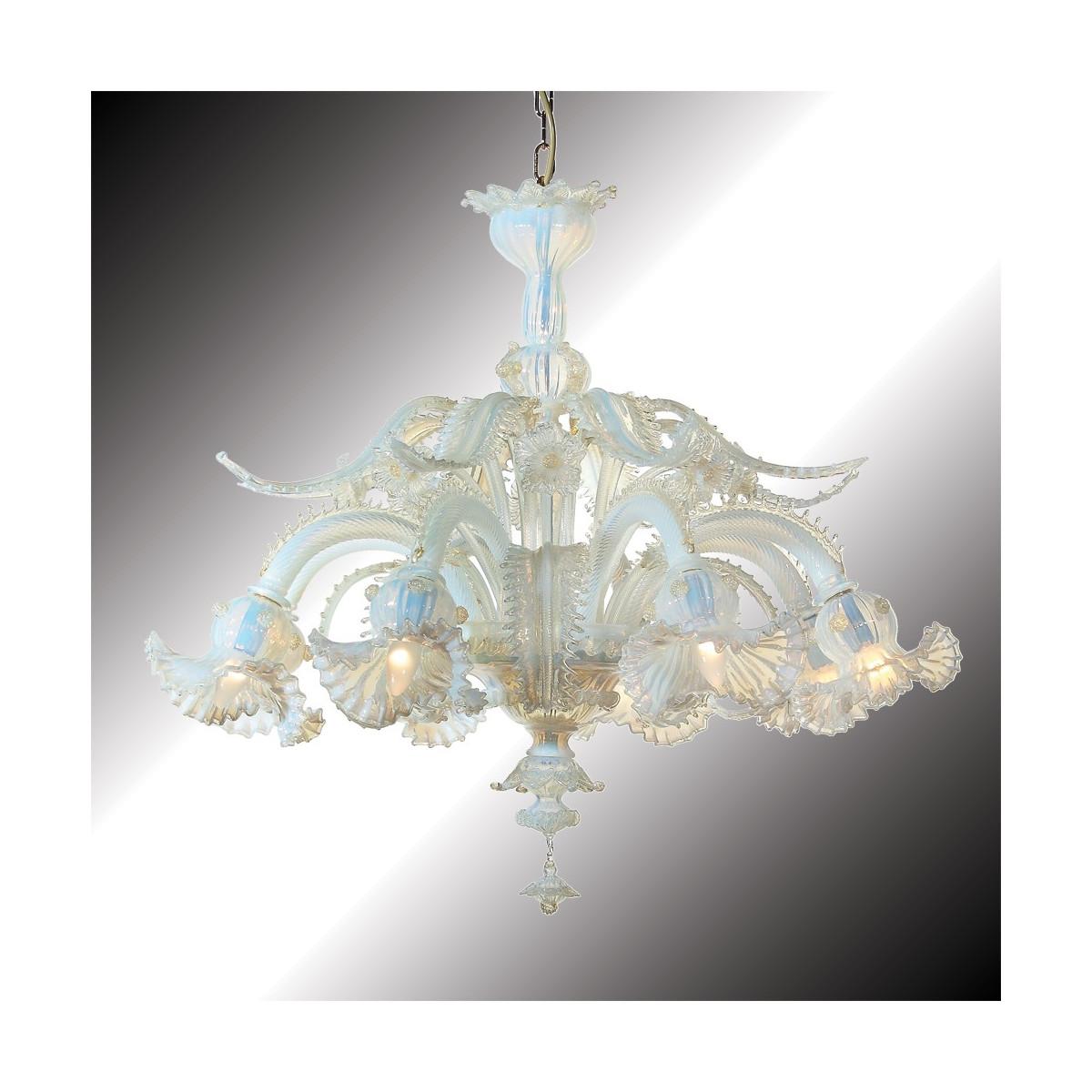 """""""Barbarigo"""" lustre opale et or en verre de Murano 8 lumières"""