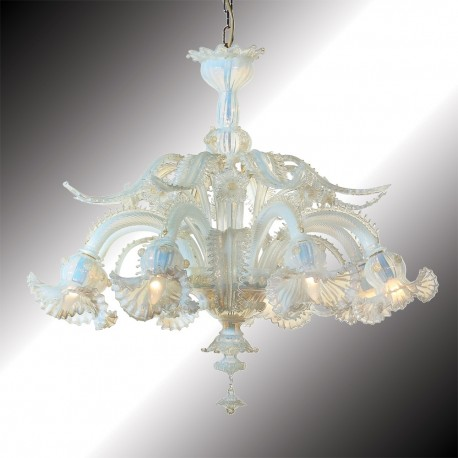 """Barbarigo"" 8 lights opal and gold Murano glass chandelier"