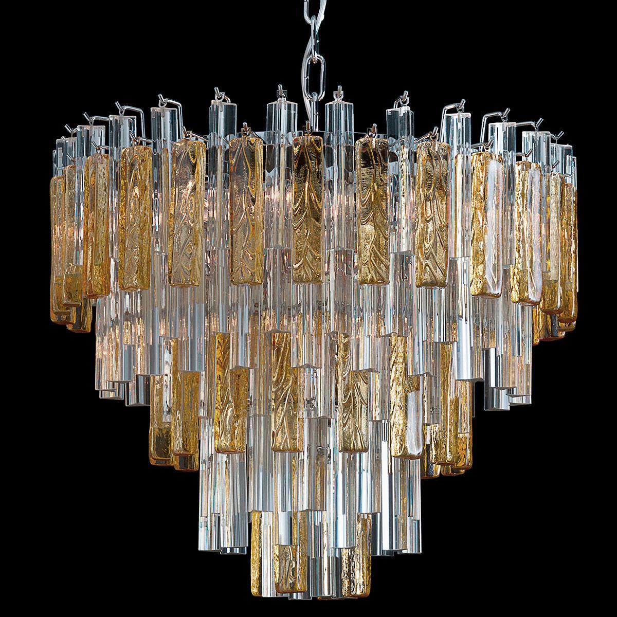 """""""Kylie"""" lampara de araña de Murano - 9 luces - transparente y ámbar"""