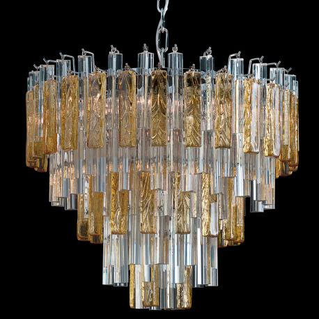 """Kylie"" Murano glass chandelier - 9 lights - transparent and amber"